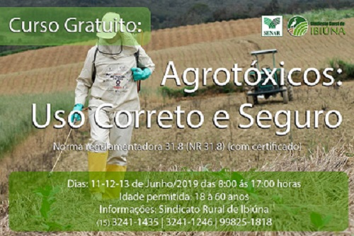 "CURSO GRATUITO – ""AGROTÓXICOS: USO CORRETO E SEGURO"""